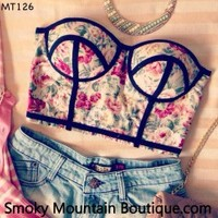 Midriff Bustier Top With Multi Color Floral Pattern Size S/M - MT126 - Smoky Mountain Boutique