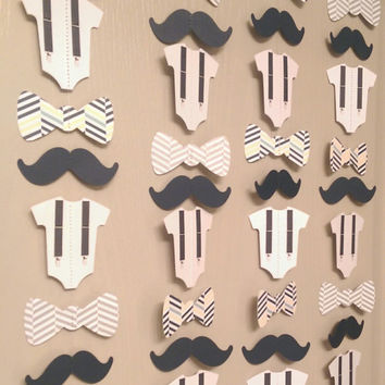 Mustache, Bow Tie, Suspender Onesuit Paper Garland Double-Sided Navy Blue, Gray Chevron Streamers, Baby Shower, Birthday Party, Baby Nursery