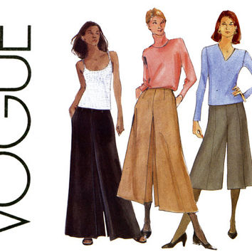 Vogue Pantskirt Pattern 7178 Uncut Size 14 16 18 Maxi Evening Wide Leg Palazzo Pants Gauchos Culottes Split Skirt Womens Sewing Patterns
