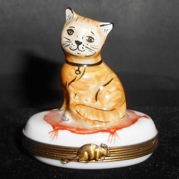 Limoges Trinket Box Kitten Kitty Cat Hand Painted Flowers Mouse Signed ND