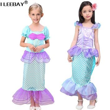 2018 Girls Mermaid Dresses Little Mermaid Fancy Princess Ariel Cosplay Halloween/Christmas Costume Children Toddler Clothes
