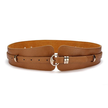 Camel Wide Waist Belt With Stud Details