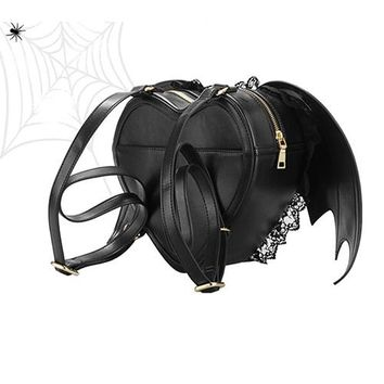 Gothic kawaii Backpack Women's Punk Stylish Heart Bat Wings Zipper Bag Lace Unicorn Bookbag