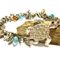 Gorgeous Rhinestone Sea Turtle Connector Charm Bracelet Made With Caribbean Blue and Mocha Brown Swarovski Crystal Element Beads