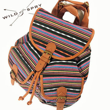 Large Ikat Abstract Tribal Native Design Backpack, Ethnic Rucksack, Holiday Bag, Hippie /Boho Ethnic Gypsy Woven Tapestry Boho - 3009