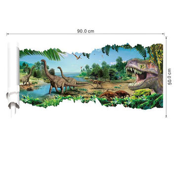 90*50cm newest 4 designs impression 3d cartoon movie Dinosaur home decal wall sticker/boys love kids room decor child gifts SM6