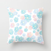 Blossoms Pastel Throw Pillow by Lisa Argyropoulos