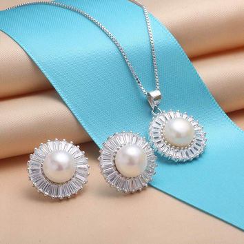YKIN Pearl Jewelry 925 Sterling Silver Jewelry Sets Dandelion Pearl  Pendants & Earring Women Sterling-Silver-Jewelry