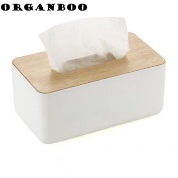 ORGANBOO Restaurant Living Room Plastic Tissue Box Oak Wooden Cover Paper Home Car Napkins Holder Home Organizer Decoration