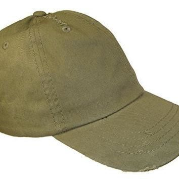 Distressed Weathered Vintage Polo Style Baseball Cap (One Size, Olive Green)