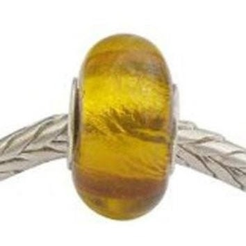 European Charm Glass Bead Gold - SET OF 4