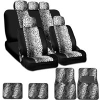 New and Unique YupbizAuto Brand Safari Snow Leopard Print Universal Size Car Truck SUV Seat Covers and Floor Mats Set Velour and Mesh Material Gift Set Smart Pocket Feature