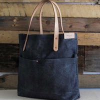 Waxed Denim Pocket Tote Bag