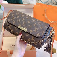 LV New fashion monogram leather chain shoulder bag crossbody bag handbag Coffee