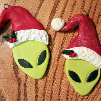 Alien Christmas Ornament, Alien Ornament, Alien Christmas, Green Alien Ornament, Christmas Ornament, Alien Santa Ornament, Alien Santa