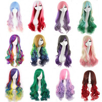 Promotion long wavy ombre color ladies synthetic hair wig,green rainbow color japanese kanekalon fibre anime cosplay wig peruca Alternative Measures