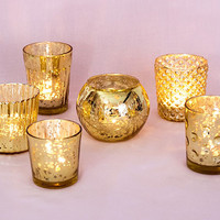 Gold Mercury Glass Candle Holders (Set of 6)