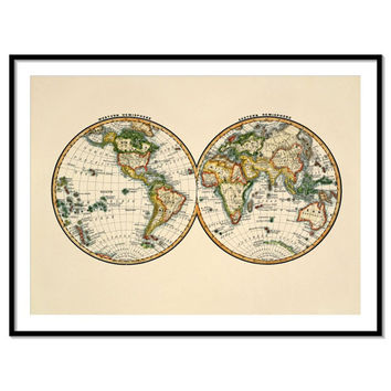 Antique colorful world wall map - world map poster art - Archival quality print - 090