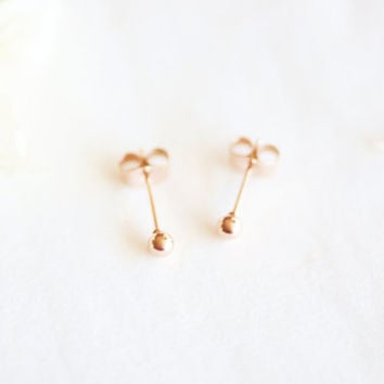 mini ball stud earrings - rose gold titanium