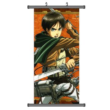 Cool Attack on Titan 45X95CM Cartoon anime wall scroll picture  Eren Levi Advancing Giants mural poster art cloth canvas painting UW2 AT_90_11