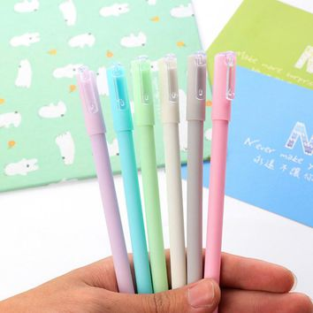 Free Shipping 0.5mm Cute Kawaii Frosted Plastic Gel Pen Lovely Candy Color Macaron Pens For Kids Writing Stationery Gift 2067