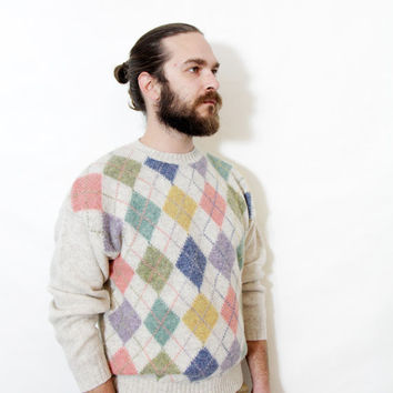 Vintage sweater / mens pastel preppy wool sweater / size M