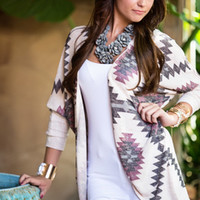 Purple with Aztec Knit Cardigan