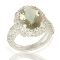 Natural Green Amethyst And White Topaz Gemstone Sterling Silver Halo Style Ring