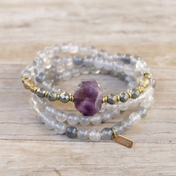 Quartz Crystal and Amethyst Mala Bracelet
