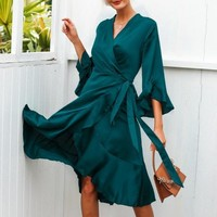 Satin Wrap Flowy Dress - Green