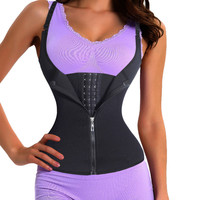 Adjustable Shoulder Strap Waist Trainer Vest Corset Women Zipper Hook Body Shaper Waist Cincher Tummy Control Slimming Underwear