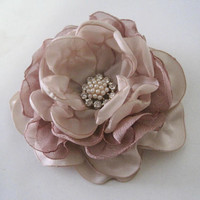 Romantic Rose Gold and Champagne Satin and Chiffon Flower Hair Clip Bride Bridesmaid Mother of the Bride with Pearl and Rhinestone Accent