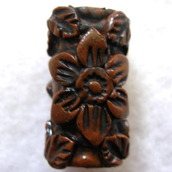 Dread Bead Wood Look Flowers and Leaves   You Choose Hole Size