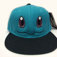 Squirtle Pokemon Face Embroidered on a hat with Custom text option on the back