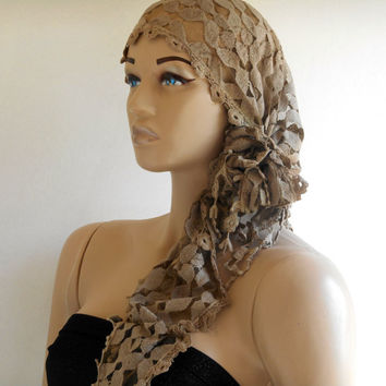 Lace Scarf, Camel Bandana, Bandana Band, Cotton Scarf, Boho Scarf, Head Bandanas, Yoga, Hair Bandana, Women Scarves, !!! FREE SHIPPING !!!