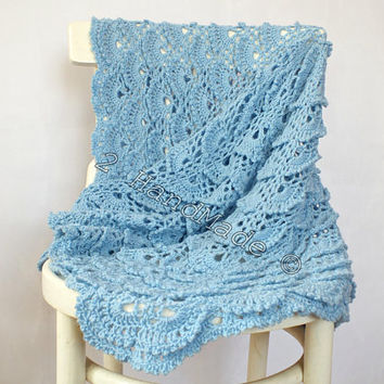 Baby Blue Lace Shells Crochet Newborn Baby Blanket Christening Baptism Baby Shower Nursery Decor Baby Boy Girl Gift Baby Keepsake