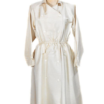 1990s Double Breasted Silk Wrap Dress / Ivory Off-White Beige / Full Skirt / Shirt Waist Button Front / Dress with Pockets / Size 8