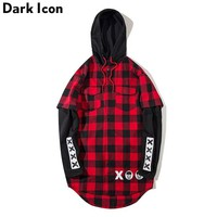 Printed Curved Hem Flannel Plaid Hoodies Men Winter New Patchwork Sleeve Men's Hoodie Red Grey