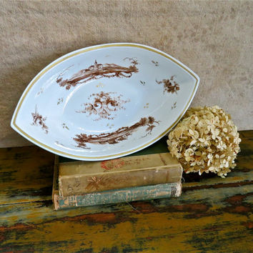 Antique French Old Paris Serving Bowl - Georgian French Porcelain Hand Painted Gilt Dish, c. 1830