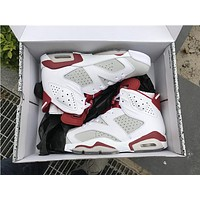"Air Jordan 6 ""Hare"" white red Basketball Shoes 41-47"