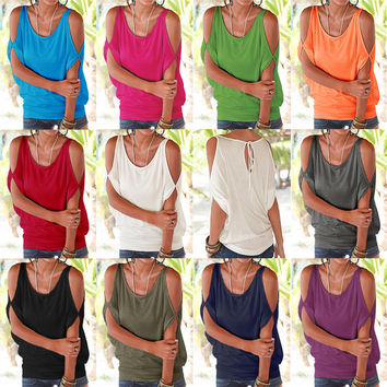 Sexy Off Shoulder Summer Style T-Shirt 2016  Women Casual Bat Loose Tops Tshirt Female Sleeveless Bandage Solid Crop Top