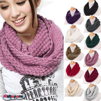 Fashion Women Winter Warm Knitted Neck Circle Wool Cowl Snood Long Scarf Shawl a2