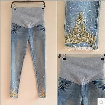 2015 Autumn New Maternity Jeans High Quality Cotton Trousers For Pregnant Women Denim Jeans Plus Size Pants Maternity Clothing = 1945951172