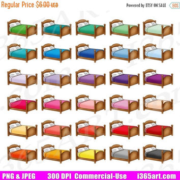 50% OFF Sale Bed Clipart, Bedroom Clip Art, Bed Sheets and Pillow, House Furniture, Planner Sticker Graphics, Scrapbooking, PNG, Commercial