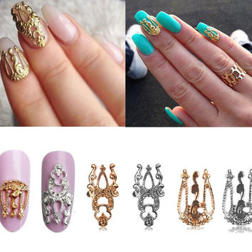 20pcs 3d Hollow Nail Art Gold Silver Alloy Decoration Jewelry Glitter - Silver