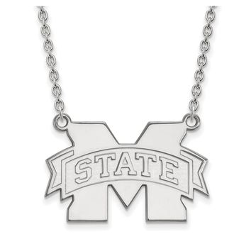 NCAA Sterling Silver Mississippi State Large M State Pendant Necklace
