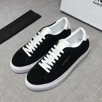 Givenchy Men Suede White Black Low Sneakers - Best Deal Online
