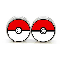 0G thru 11mm - Stainless Steel Pokeball Plugs