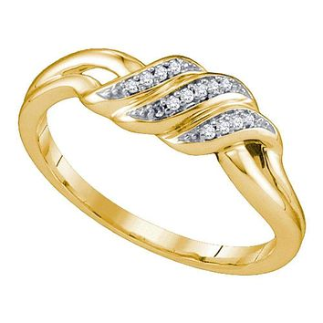 10kt Yellow Gold Womens Round Diamond Triple Row Simple Crossover Ring 1/20 Cttw - FREE Shipping (US/CAN)