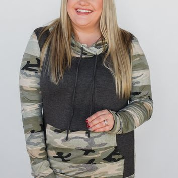 Fading Into Camo Cowl Neck- Charcoal